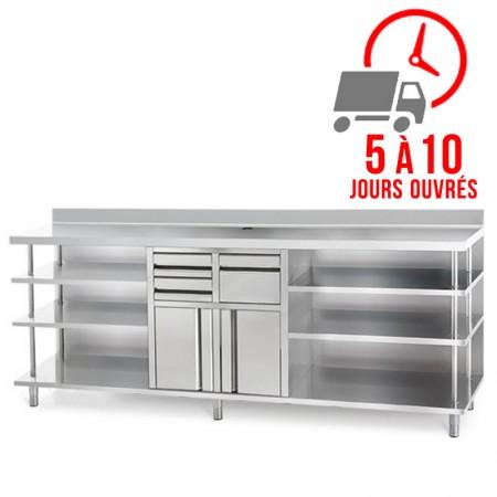 Plaque de cuisson gaz 400 x 600 mm - Surface lisse acier chromé