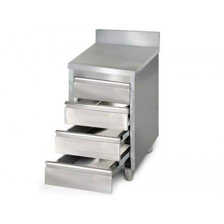 Placard 4 tiroirs adossée / P.600 mm