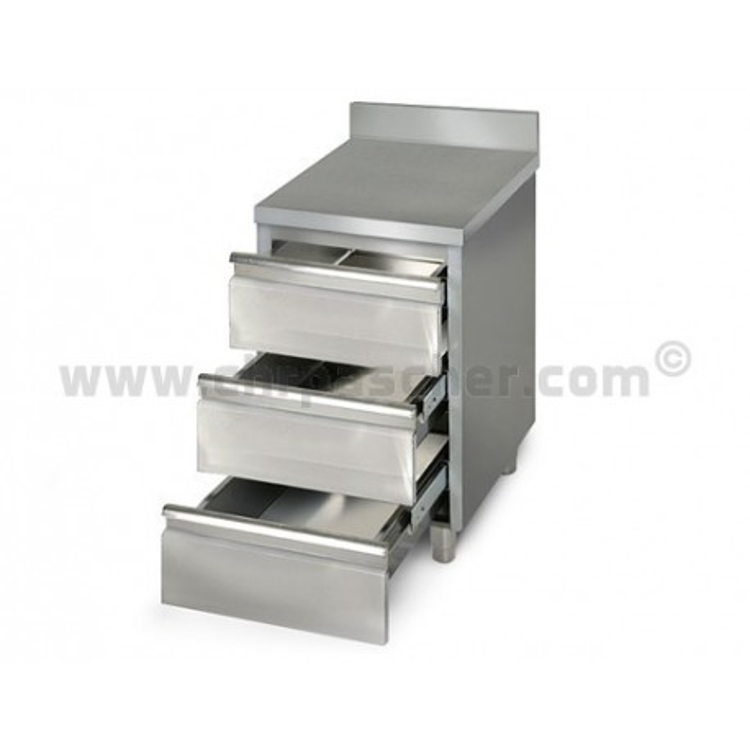 Placard 3 tiroirs adossée / P.600 mm