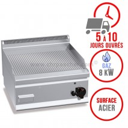 Plaque de cuisson gaz 600 x 600 mm (8kW) - Surface acier rainurée