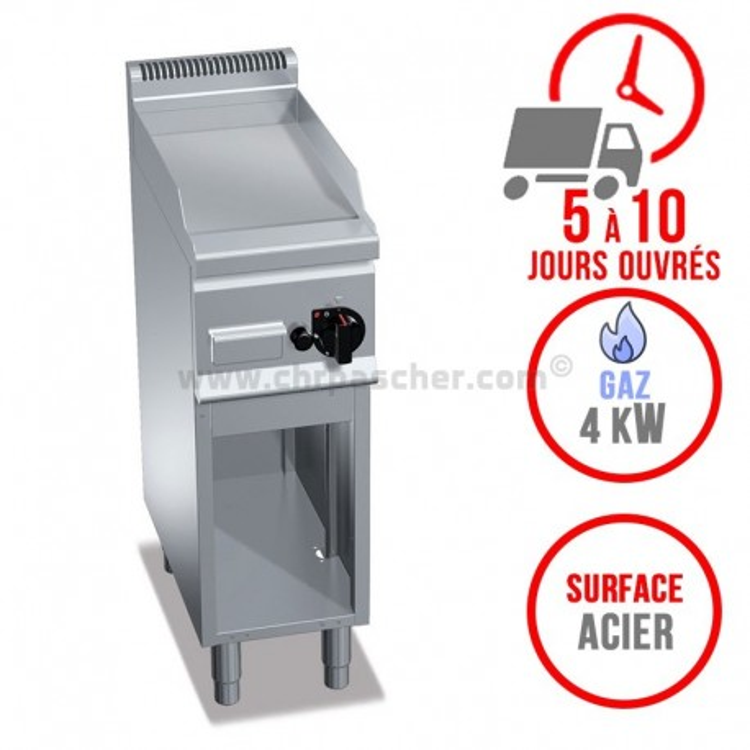 Plaque de cuisson gaz sur pieds 300 x 600 mm (4kW) - Surface acier lisse
