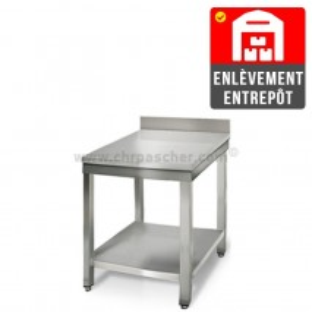Table inox 600 x 600 mm adossée | Enlèvement entrepôt / CHRPASCHER