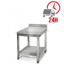 Table inox 600 x 600 mm adossée / CHRPASCHER