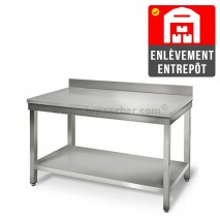 Table inox 1000 x 600 mm adossée   Enlèvement entrepôt / CHRPASCHER