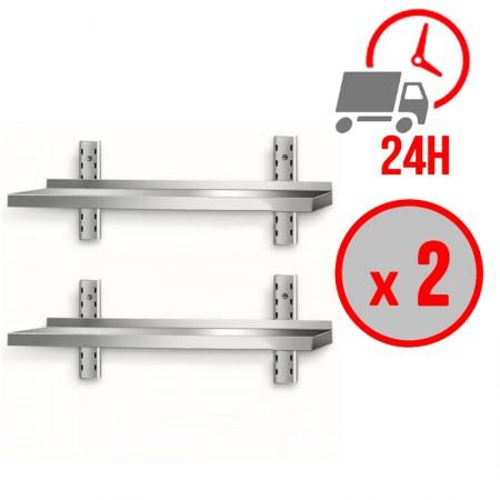 Table inox 1400 x 600 mm adossée sur roulettes / CHRPASCHER