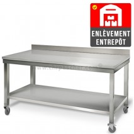 Table inox 2000 x 600 mm adossée sur roulettes   Enlèvement entrepôt / CHRPASCHER