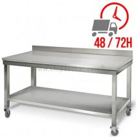 Table inox 2000 x 600 mm adossée sur roulettes / CHRPASCHER