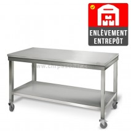 Table inox 1600 x 700 mm sur roulettes | Enlèvement entrepôt / CHRPASCHER