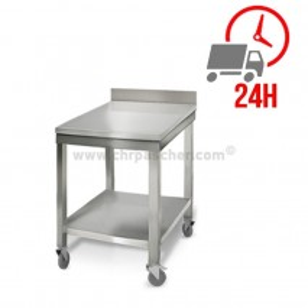 Table inox 600 x 700 mm adossée sur roulettes / CHRPASCHER