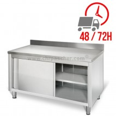 Meuble bas inox 1600 x 600 mm adossée / CHRPASCHER