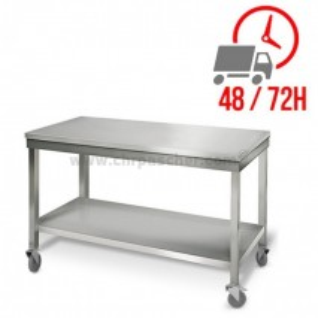 Table inox 1400 x 500 mm sur roulettes / GOLDINOX