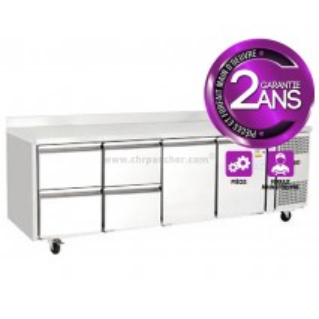 Table réfrigérée 700 / 2 portes + 4 tiroirs adossée